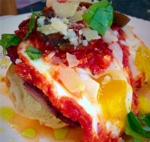 An open-faced egg sandwich A.J. cooks for his wife